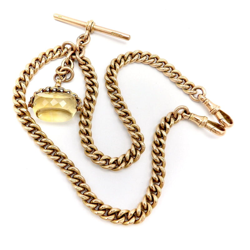 9K Gold Curb Link Watch Chain or Necklace with T-Bar and Citrine Swivel Fob Necklace Kirsten's Corner Jewelry