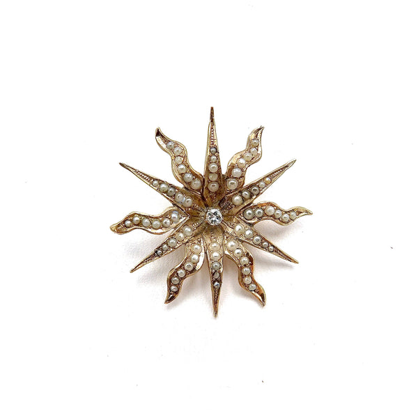 Victorian 14K Gold Radiating Star Pendant with Pearls and Diamond Kirsten's Corner
