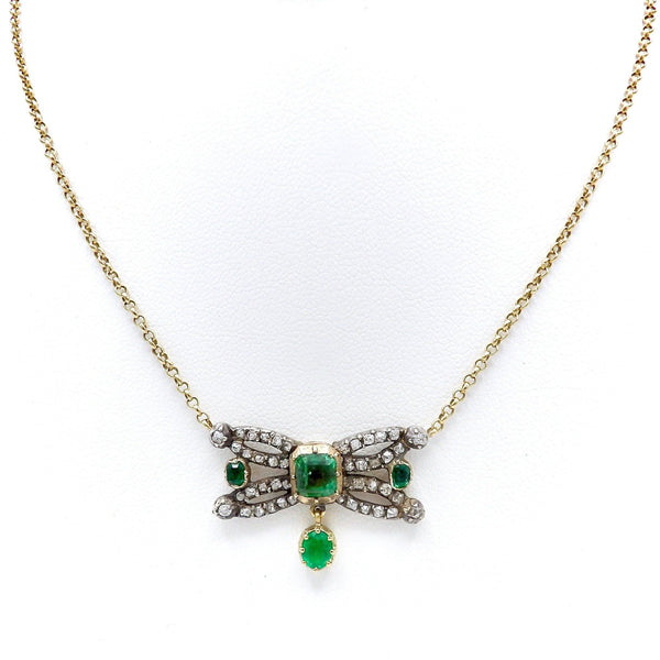 Georgian Component Diamond and Emerald 14K Gold and Silver Necklace Necklace Kirsten's Corner
