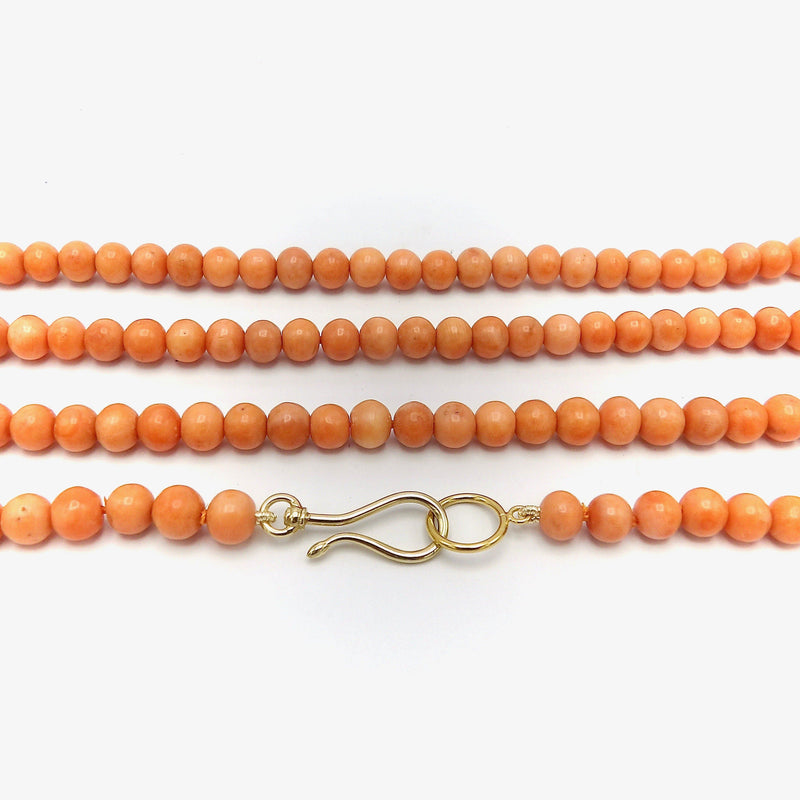 14K Signature Gold Hook & Victorian Era Coral Bead Necklace Necklace Kirsten's Corner Jewelry