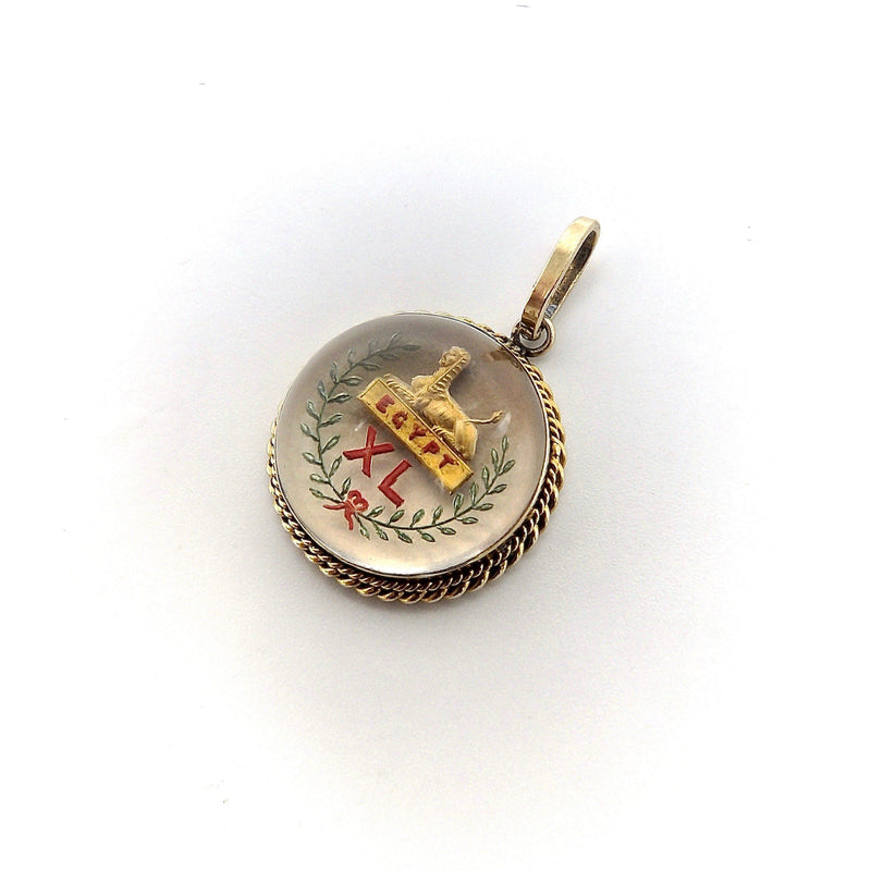 Egyptian Revival 14K Gold Reverse Painted Essex Crystal of Sphinx charm Kirsten's Corner