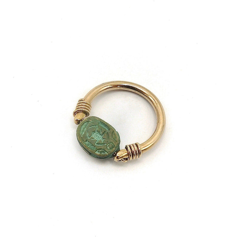 Egyptian Revival Green Scarab 12K Gold Swivel Ring Ring Kirsten's Corner Jewelry