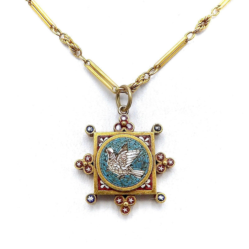 Micro Mosaic Peace Dove Set in 14K Gold Pendant or Charm Kirsten's Corner