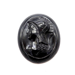 Victorian Whitby Jet & 14K Gold Pendant-Brooch With Warrior Cameo Brooch Kirsten's Corner Jewelry