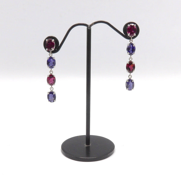 Contemporary 14K White Gold, Rhodolite Garnet and Tanzanite Earrings - Kirsten's Corner Jewelry