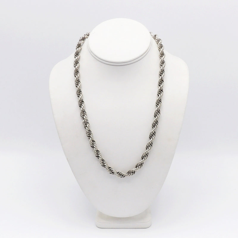 Vintage Sterling Silver Rope Link Necklace - Kirsten's Corner Jewelry
