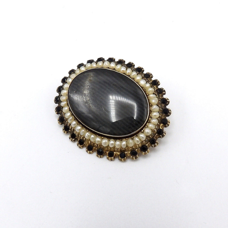 14K Gold Victorian Mourning Brooch with Hair, Faceted Stones and Pearls Brooches, Pins Kirsten's Corner Jewelry
