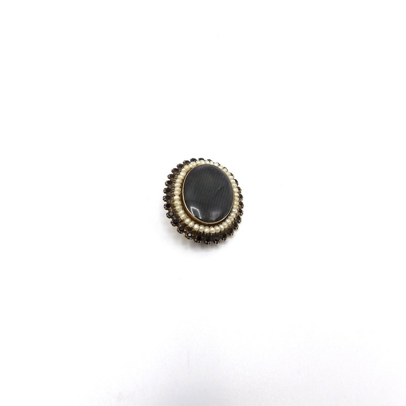 14K Gold Victorian Mourning Brooch with Hair, Faceted Stones and Pearls - Kirsten's Corner Jewelry