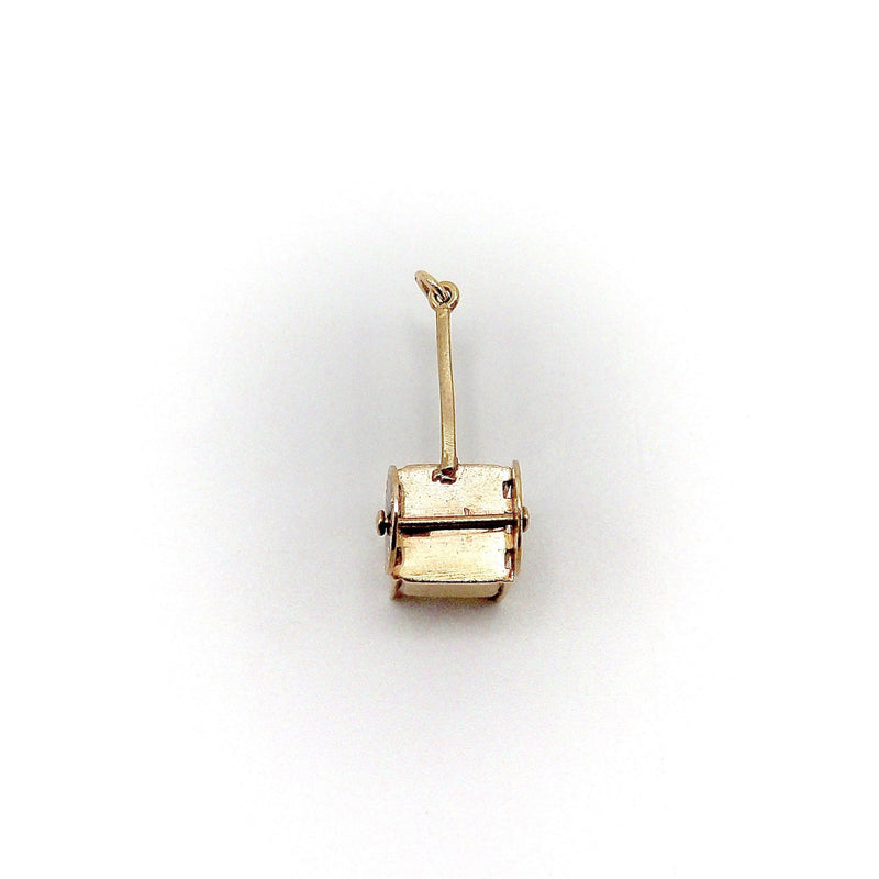 14K Gold Vintage European Cart Charm with Black Enamel Charm Kirsten's Corner Jewelry