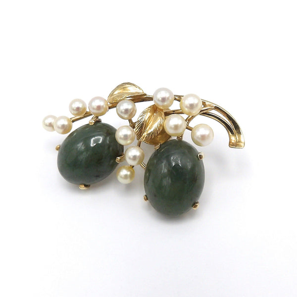 Vintage 14K Gold, Jadeite, Akoya Pearl Brooch by Ming's of Hawaii - Kirsten's Corner Jewelry