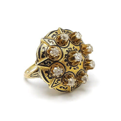 Victorian 18K Gold and Diamond Taille d'Epargne Ring - Kirsten's Corner Jewelry