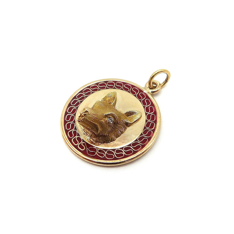 14K Gold Plique-a-jour Medallion Pendant with Wolf Head Kirsten's Corner