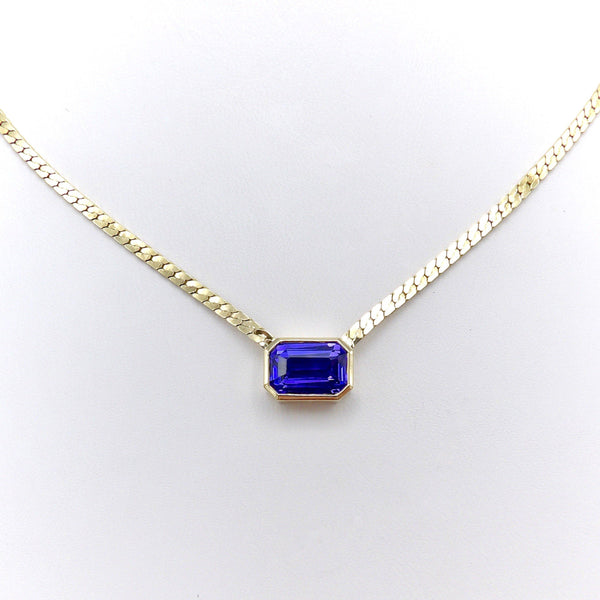 14K Gold Bezel Set Tanzanite Necklace Necklaces, Pendants Kirsten's Corner