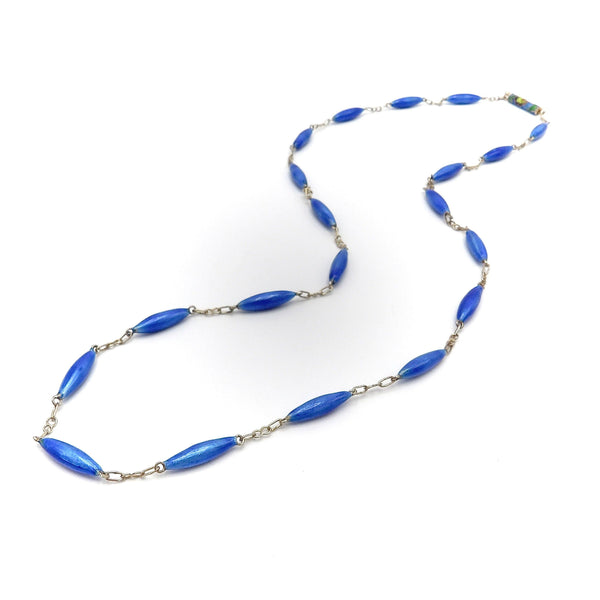 Sterling Silver Blue Enamel Necklace with Cloisonné Clasp Necklace Kirsten's Corner Jewelry