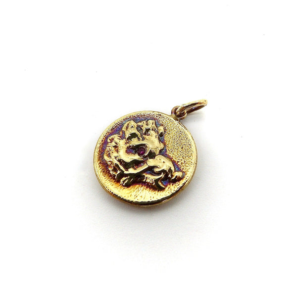 14K Gold & Ruby Victorian Inspired Signature Boar Pendant-Charm Pendant, Charm Kirsten's Corner Jewelry