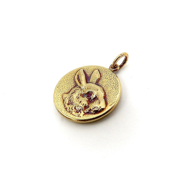 14K Gold & Ruby Victorian Era Signature Rabbit Pendant-Charm