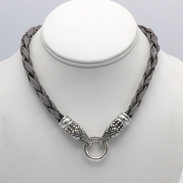 Vintage Kieselstein-Cord Sterling Silver Woven Double Crocodile Necklace - Kirsten's Corner Jewelry
