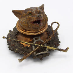 Cold Painted Bronze and Copper Fox Head Inkwell Objects of Virtue Kirsten's Corner Jewelry