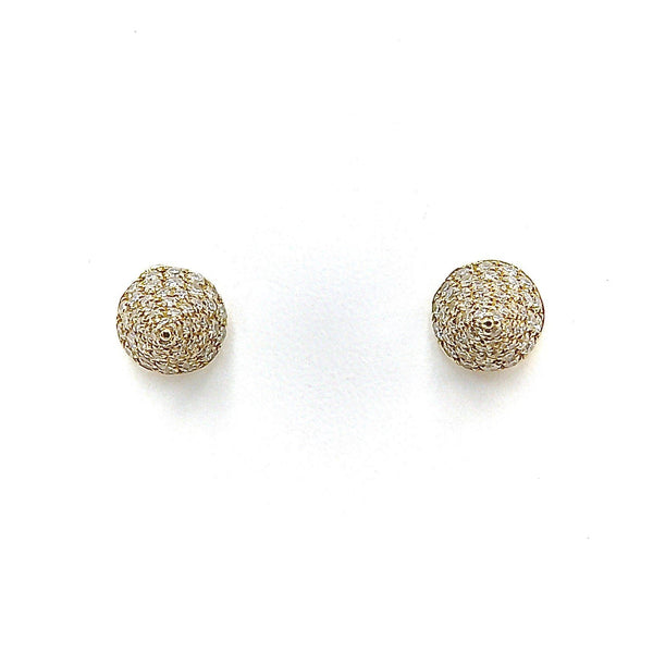 14K Gold Micro Pave Diamond Cone Stud Earrings Earrings Kirsten's Corner Jewelry