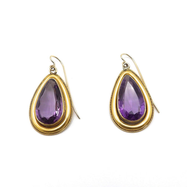 15K Gold and Amethyst Victorian Earrings - Kirsten's Corner Jewelry