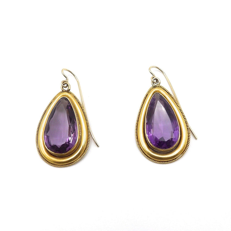 15K Gold and Amethyst Victorian Earrings Earrings Kirsten's Corner Jewelry