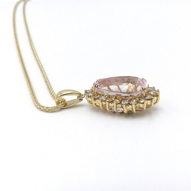 Vintage 14K Gold, Kunzite and Cognac Diamond Necklace Necklace Kirsten's Corner Jewelry