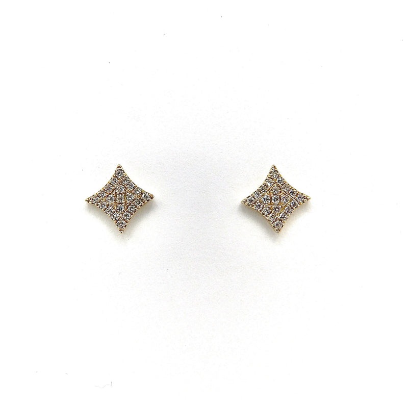 14K Gold Micro Pave Diamond Curved Square Stud Earrings Earrings Kirsten's Corner Jewelry