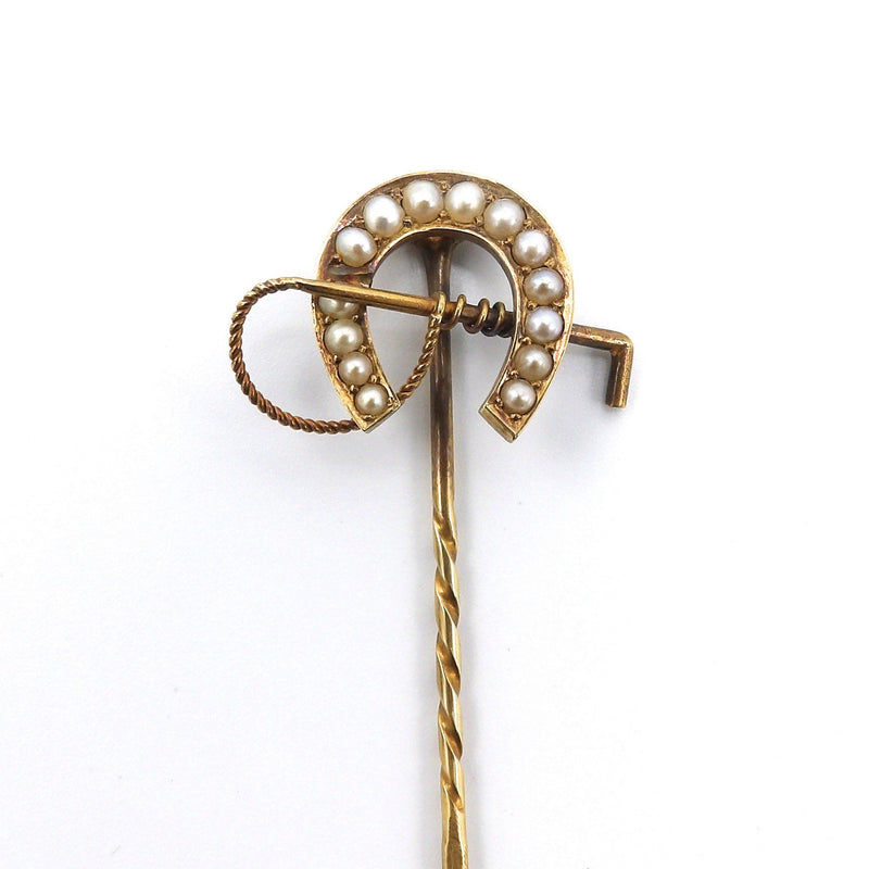 14 K Gold & Pearl Horseshoe Stick Pin Brooches, Pins Kirsten's Corner Jewelry