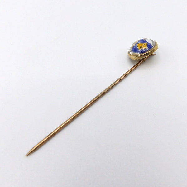 1890s British Sailor Reverse Painted Essex Crystal 14K Gold Stick Pin - Kirsten's Corner Jewelry