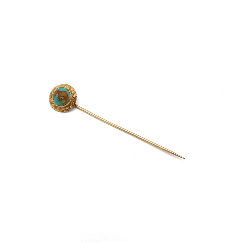 Late Victorian 14K Gold and Turquoise Stick Pin Brooches, Pins Kirsten's Corner Jewelry