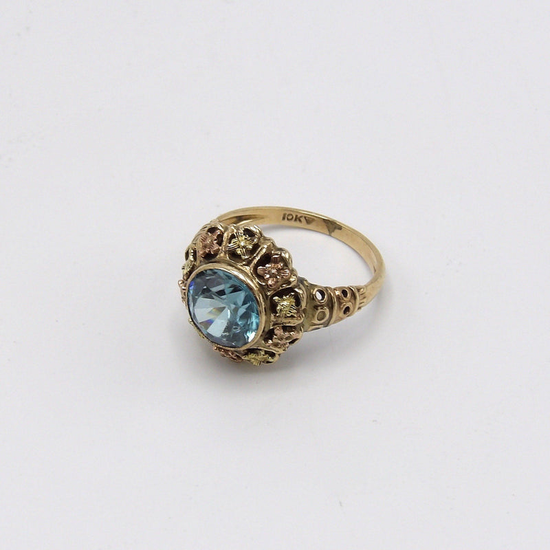 Vintage 9K Yellow and Rose Gold Zircon Ring - Kirsten's Corner Jewelry