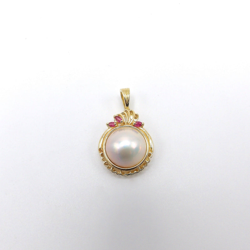 14K Gold, Ruby, and Mabé Pearl Pendant Enhancer Pendant Kirsten's Corner Jewelry