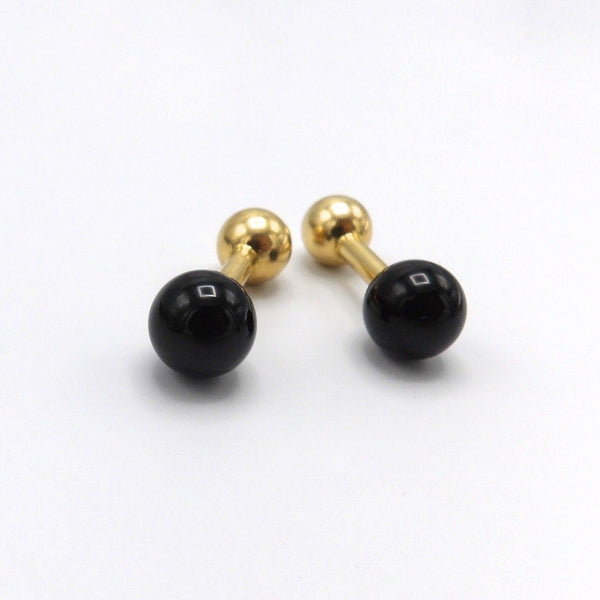 Tiffany & Co. Onyx and 14K Gold Barbell Cufflinks - Kirsten's Corner Jewelry