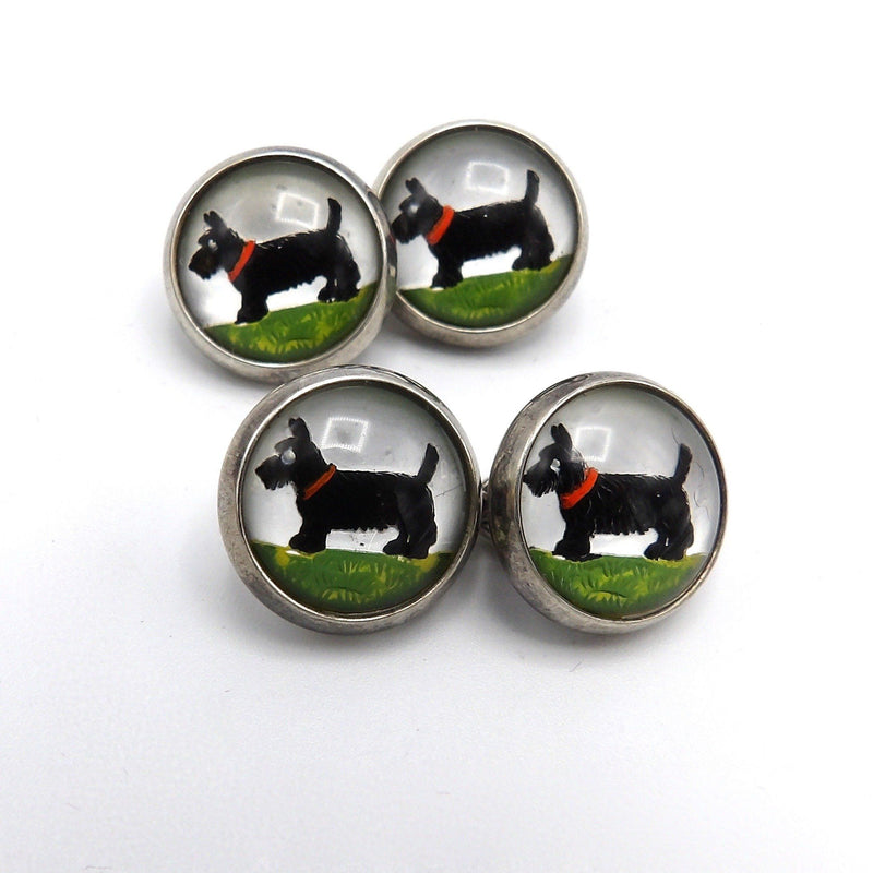 Scottish Terrier Sterling Silver Reverse Hand-Painted Essex Crystal CuffLinks Cufflinks Kirsten's Corner Jewelry