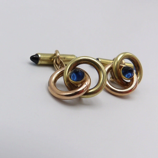 Krementz 14K Rose & Yellow Gold & Sapphire Cufflinks - Kirsten's Corner Jewelry