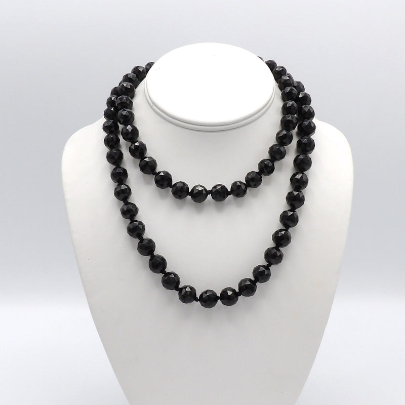 Victorian Hand Faceted Whitby Jet Black Beaded Necklace necklace Kirsten's Corner Jewelry