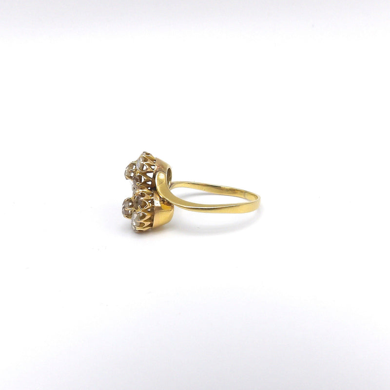 Victorian 18K Gold and Rose Cut Diamond Flower Bypass Ring - Kirsten's Corner Jewelry