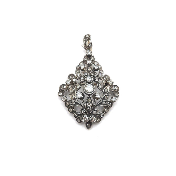 Late Victorian Sterling Silver and 12K Gold Diamond Pendant - Kirsten's Corner Jewelry