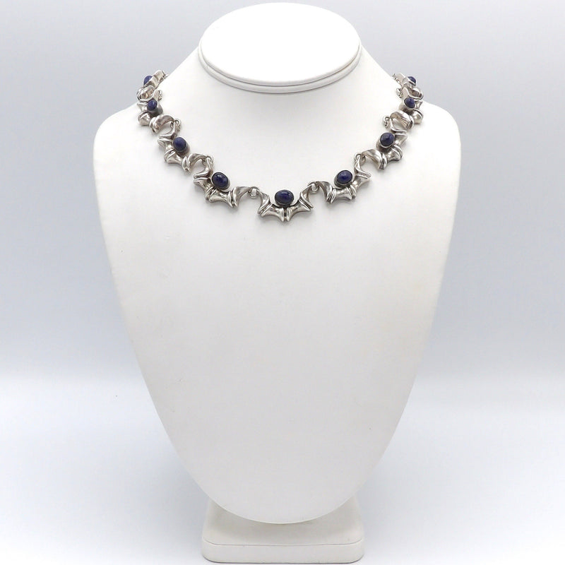 Taxco Sterling Silver and Sodalite Choker Necklace Necklace Kirsten's Corner Jewelry