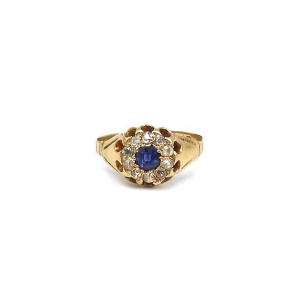 Edwardian 18K Gold, Sapphire and Diamond Ring - Kirsten's Corner Jewelry