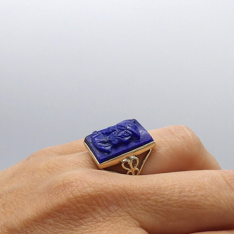Victorian 14K Gold Carved Warrior Cameo Lapis Ring Ring Kirsten's Corner Jewelry