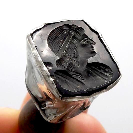 Antique Sterling Silver & Black Agate Intaglio Seal Objects of Virtue Kirsten's Corner Jewelry