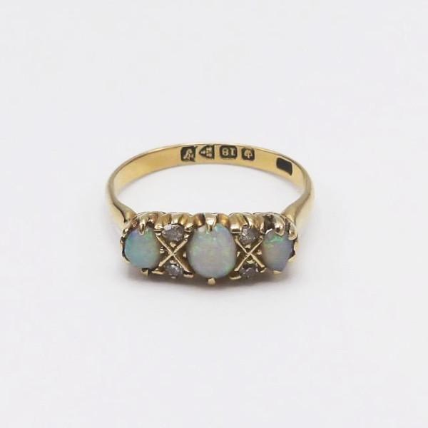 Edwardian Opal and Diamond 18K Gold Ring - Kirsten's Corner Jewelry