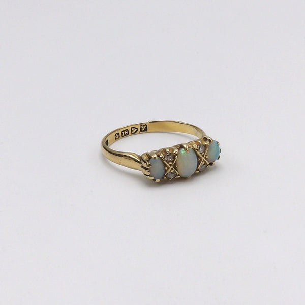 Edwardian Opal and Diamond 18K Gold Ring RING Kirsten's Corner Jewelry