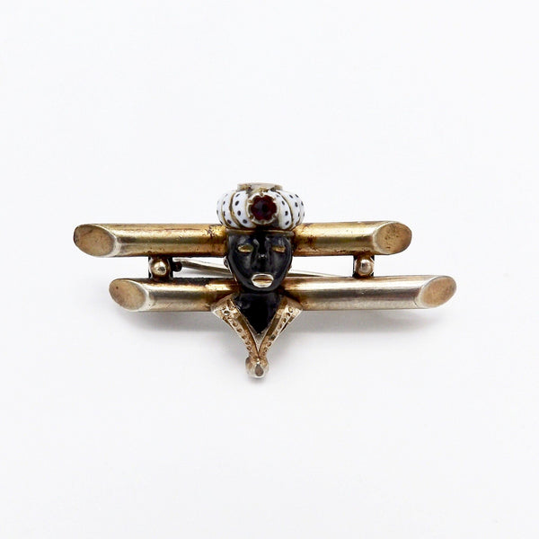 Georgian-Era Gilded Silver Venetian Blackamoor Brooch with Garnet and Enamel - Kirsten's Corner Jewelry