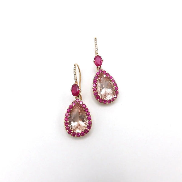 14K Rose Gold, Morganite, Ruby and Diamond Earrings Earrings Kirsten's Corner Jewelry