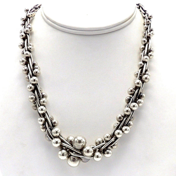Taxco Sterling Silver Mexican Necklace with Graduated Beads Necklace Kirsten's Corner Jewelry
