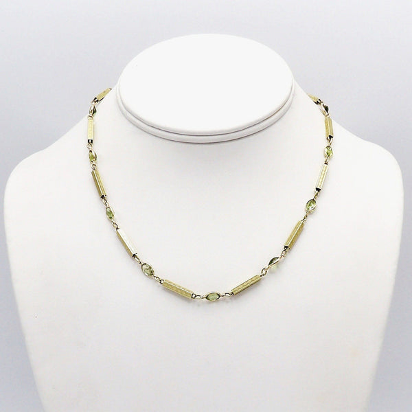 Victorian 12K Gold Chain and Green Tourmaline Necklace - Kirsten's Corner Jewelry