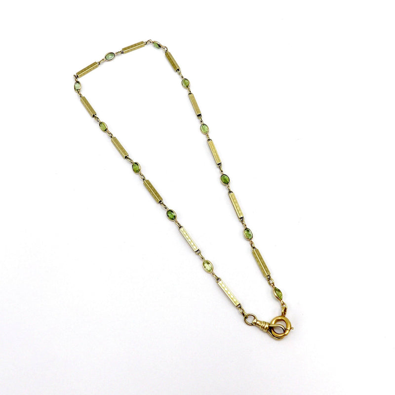 Victorian 12K Gold Chain and Green Tourmaline Necklace Necklaces, Pendants Kirsten's Corner Jewelry