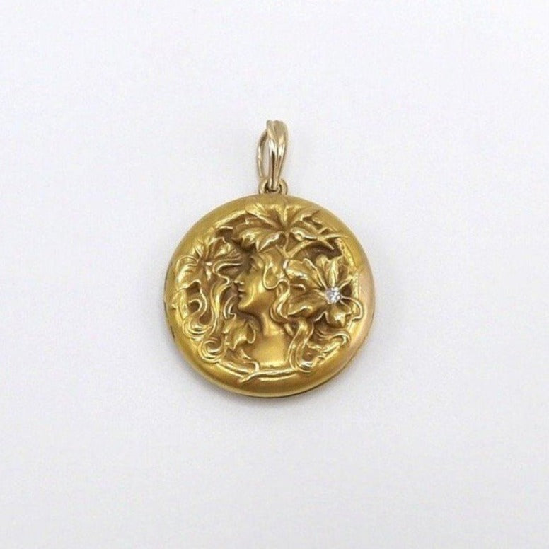 Art Nouveau 14K Gold and Diamond Pendant Locket Pendant Kirsten's Corner Jewelry